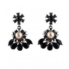 Created Diamond Flower Design Pink Created Pearl Earrings