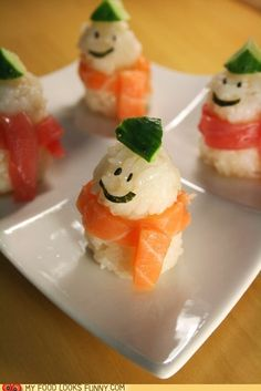 snowmen sushi- I could eat sushi like this!  I love the chunks of sushi :)
