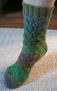 Free Knitting Pattern - Adult Slippers Socks: Maidenhair Fern Socks - simple 15 stitch repeat pattern would make a gorgeous cowl