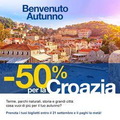 Non perdere l'occasione di goderti lo spettacolo dell'autunno in Croazia. Prenota i tuoi biglietti con Snav entro il 21 settembre e li paghi la metà! www.snav.it o chiama allo 081/4285555