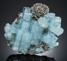 AQUAMARINE with MUSCOVITE  Gilgit-Baltistan (Northern Areas), Pakistan    This is a very large plate featuring a profusion of Aquamarines -  their light blue crystal bodies are uniquely edged with a darker  blue coloration. There are also Muscovite clusters that provide a  textural contrast to the smooth Aquamarine faces.