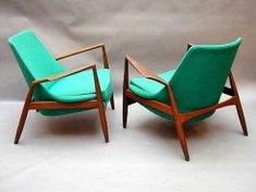 2 20th Century green chairs