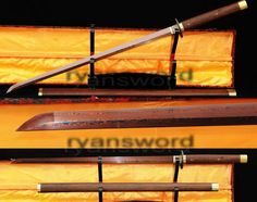 HAND FORGED DAMASCUS RED FOLDED STEEL JAPANESE SAMURAI NINJA SWORD