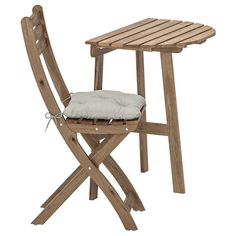 Projects to try ASKHOLMEN Wall folding chairs,outdoor - gray/brown gray-brown stained - IKEA Wall Table Folding, Outdoor Folding Chairs, Outdoor Tables, Outdoor Cushion Covers, Outdoor Cushions, Chair Cushions, Table Furniture, Furniture Sets, Small Outdoor Spaces