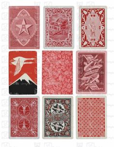 Vintage Playing Cards RED Backs - INSTANT DOWNLOAD - 8.5 x 11 inch Printable Digital Collage Sheet with 9 images Vintage Playing Cards, Vintage Cards, Image Paper, Textures And Tones, Oracle Cards, Crafty Craft, Deck Of Cards, Digital Collage, Collage Sheet