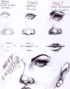 How to draw eyes, noses, and mouths