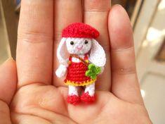 Bunny Rabbit Girl - Amigurumi Crochet Tiny Stuffed Animal - Made To Order Crochet Bunny, Cute Crochet, Crochet Toys, Crochet Pattern, Tiny Bunny, Bunny Rabbit, Miniature Dogs, Mini Dogs, Mini Things