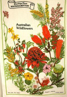 Australian Wildflowers Souvenir Tea Towel - Vintage Czech Linen Flowers & Floral Tourist Tea Towel - New Old Stock by FunkyKoala on Etsy
