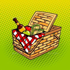 Picnic Basket with Food Products Pop Art Vector