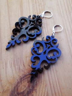 Victorian Laser Cut Earrings - Black Acrylic Statement Jewelry