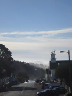 Visit Mendocino - Lancing Street -- driving to the Hill House Inn this is my view in the rear view mirror.