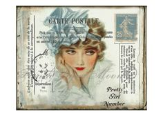Postcard Vintage Lady, Large Image, Instant Download, Vintage Transfer Fabric, Digital collage sheet printable by FrenchPaperMoon on Etsy