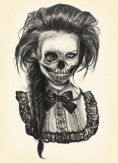 vintage skull girl