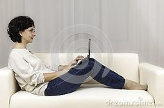 Stock Photos: Beautiful woman people working laptop sofa young pretty home copy space white curtains. White Curtains, Pretty Woman, Laptop, Beautiful Women, Sofa, Stock Photos, Space, People, White Sheer Curtains