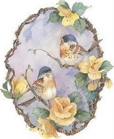 decoupage birds and yellow flowers on blue Decoupage Vintage, Decoupage Paper, Vintage Diy, Vintage Cards, Vintage Paper, Vintage Postcards, Vintage Images, China Painting, Bird Pictures