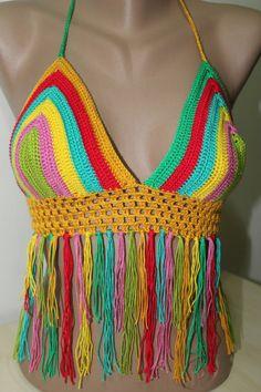 Crochet Bikini Tassels Top Sexy Bikini Summer Top by PinarKnitting