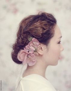 Wedding Hair Flower, Dusty Rose Pink Bridal Hair Flower, Silk Flower Hair Combs. $145.00, via Etsy.