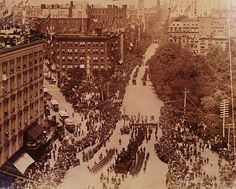 """""""The Funeral of President Ulysses S. Grant Madison Square Park, 5th Avenue & 24th Street, New York City, U.S. Instantaneous Photo Company, Albumen print, August 8, 1885 Ulysses S. Grant, the Civil War hero, was one of America's most beloved Presidents. He moved to upstate New York after his presidency and there, he died of cancer of the throat on July 23, 1885. His funeral in New York City was one of the most elaborate ever held, and a commemorative series of photographs documenting the..."""