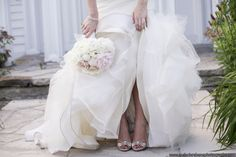 Dress: Vera Wang from The White Dress Shoes: Badgley Mischka in Blush Bracelet: Tiffany ( A gift on the wedding day) Bouquet: Full Bloom Floral Design Wedding White Dress Shoes, Badgley Mischka, Vera Wang, Beautiful Flowers, Floral Design, Wedding Day, Bouquet, Blush, Dresses