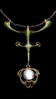 Edward Colonna | Pendant 1900. Gold, enamel, pearl. Exhibited at the World Exhibition in Paris in 1900. | Gallery Mac Low - New York