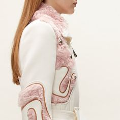 Wool Coat with Wool Fur Appliqués, Metal Embellishments and Wool Lace Top, Peter Pilotto