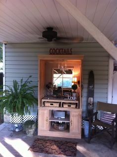 Repurpose an old armoire.... Perfect outdoor bar! Y'all, the flood got my old armoire this summer... So here is my new one!