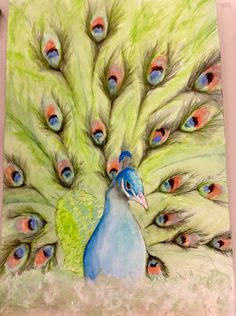 This is a fun mixed media using; watercolor, pen, charcoal pastels, and rice paper.