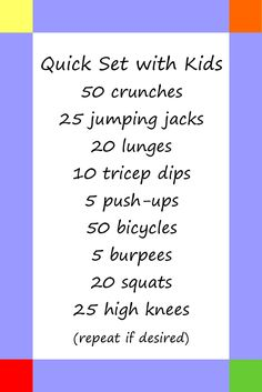 Udall Update: Quick Set with Kids Exercise plan you can do with kids! Need to do this! They love doing my afternoon routine with me so why not mix it up a little! More