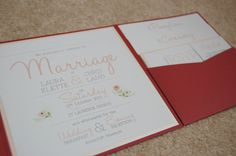 Blush, peach, gold glitter and burgundy floral wedding invitations. Pocket fold invitation from Cards & Pockets.