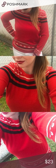 Large The Limited Red Fair Isle Stripe Sweater Size Large The Limited Red Fair Isle Stripe Sweater. Stripes and pattern along neckline and cuffs, lower hem. Super Comfy and Warm! The Limited Tops
