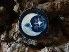 The Visit- Moon brooch or pendant - Hand painted on wood by Amaya de la Hoz