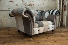 This beautiful one of piece has been produced with a mixture of multi coloured fabrics ranging from wools, linens and soft velvets, crushed velvets. To compliment this beautiful piece we have added stud work, with dark mahogany & chrome castor legs. Grey And Beige, Black And White, Chesterfield Armchair, Seat Cushions, Pillows, Dark Mahogany, Back Seat, Beautiful One, Color Mixing