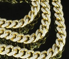 "ICED OUT HIP HOP SNEAKER ROPE CHAIN DIAMOND CUT 30/"" CUBAN LINK CHAIN NECKLACE 62"