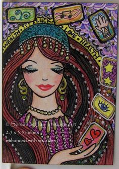 ACEO Original Joy Art 2 Sided Card Good Luck Fortune Beautiful Woman Gypsy Tarot #Miniature