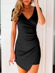 Black V Neck Wrap Front Asymmetric Bodycon Dress