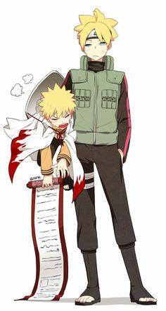 Chibi Naruto and. Uzumaki Boruto looks so freakin' awesome! Anime Naruto, Kid Naruto, Naruto Fan Art, Naruto Cute, Naruto Children, Uzumaki Family, Naruto Family, Boruto Naruto Next Generations, Naruto Gaiden