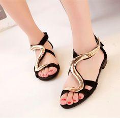 Fashion S type metal decoration  sandals women ankle wrap flat snake shaped  prints animal elements  women shoes 35~41 XWZ300-in Women's Sandals from Shoes on Aliexpress.com   Alibaba Group