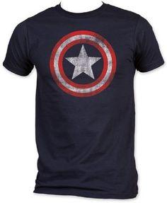 Captain America - Jersey Bouclier ajusté à court T-shirt à manches dans la  Marine 3336a618b08