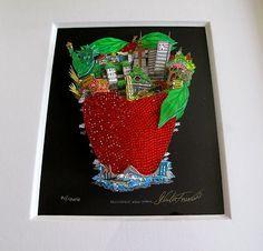 "CHARLES FAZZINO Hand Signed Framed 3-D SWAROVSKI CRYSTALS ""Deliciously New York"""