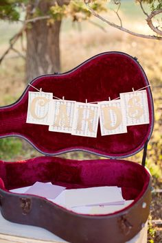 Wedding Banner Cards Sign by CBPaperie on Etsy. Photo by Moreland Photography Guitar Wedding, Wedding Music, Diy Wedding, Dream Wedding, Wedding Ideas, Wedding Verses, Trendy Wedding, Wedding Pictures, Festa Yellow Submarine