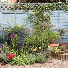 City Gardening Pretty garden with pastel-blue fence.they say its cornflower - Looking for garden inspiration? Then check out this small garden with a pastel-blue fence for ideas Garden Fence Paint, Garden Fence Panels, Garden Fencing, Urban Gardening Berlin, Fence Paint Colours, Blue Fence, Garden Drawing, Walled Garden, Garden Pictures
