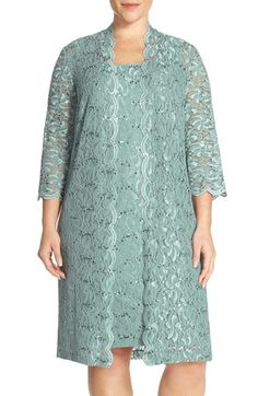 Alex Evenings Sequin Lace Sheath Dress & Duster (Plus Size) available at #Nordstrom