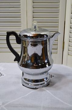 Vintage Farberware Coffee Percolator Chrome Black by PanchosPorch