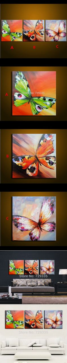 Abstract Oil Painting On Canvas Palette Knife Colorful butterfly Painting Modern Home Decor living Room Canvas Wall Art Picture $28.8