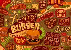 Burgermat Show by Linzie Hunter, via Behance