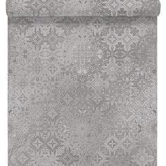 grandes fleurs beiges et grises papier peint my home by. Black Bedroom Furniture Sets. Home Design Ideas