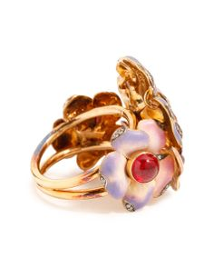 Gold, Diamond and Ruby Floral Ring