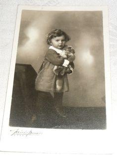Small Girl with Teddy Bear Real Photo Postcard Latvia Riga 1940 Old Photographs, Riga, Photo Postcards, Teddy Bear, Culture, History, Historia, Teddybear, Old Photos