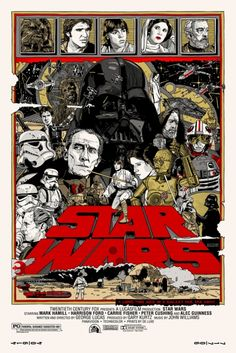 An alternative movie poster for the film Star Wars: Episode IV A New Hope, created by Tyler Stout, featured on AMP Star Wars Film, Star Wars Poster, Star Wars Episódio Iv, Star Wars Art, Poster On, Star Trek, Art Posters, Cyberpunk, Dark Vader