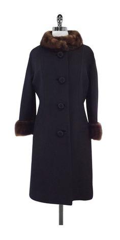 Bergdorf Goodman Black & Brown Mink Detail Coat